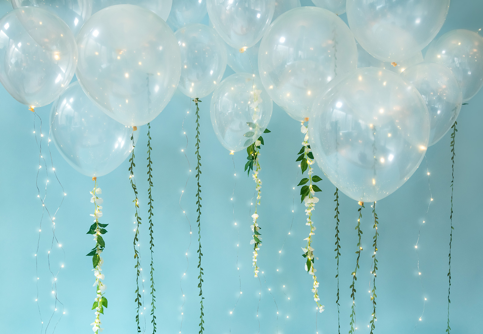 Decorative balloons with string lights