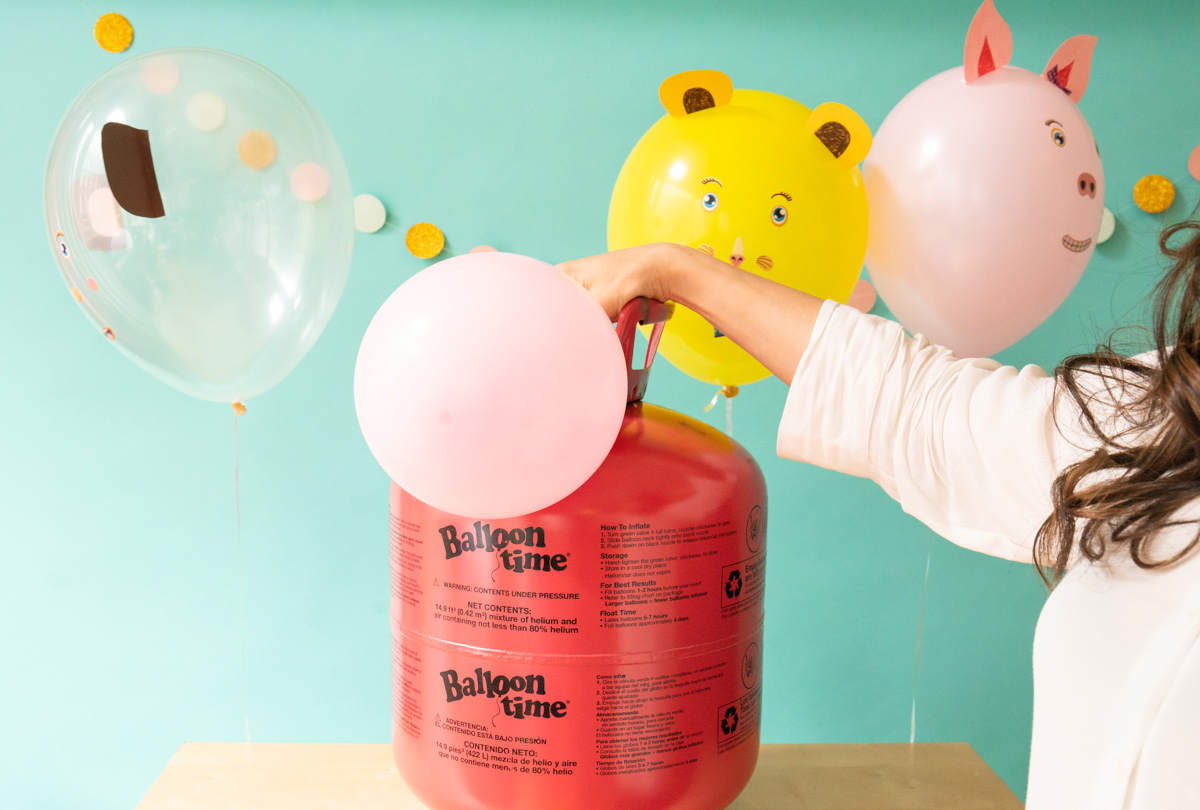 Inflating balloons for a kids craft