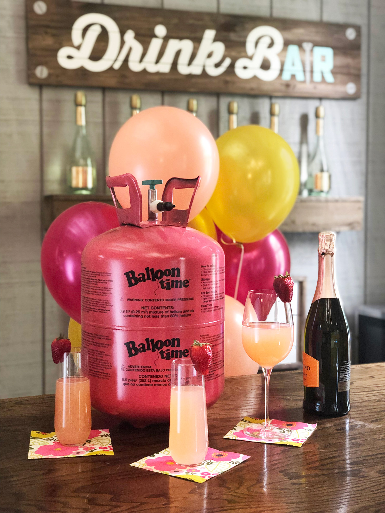 Brunch bar decorated with balloons