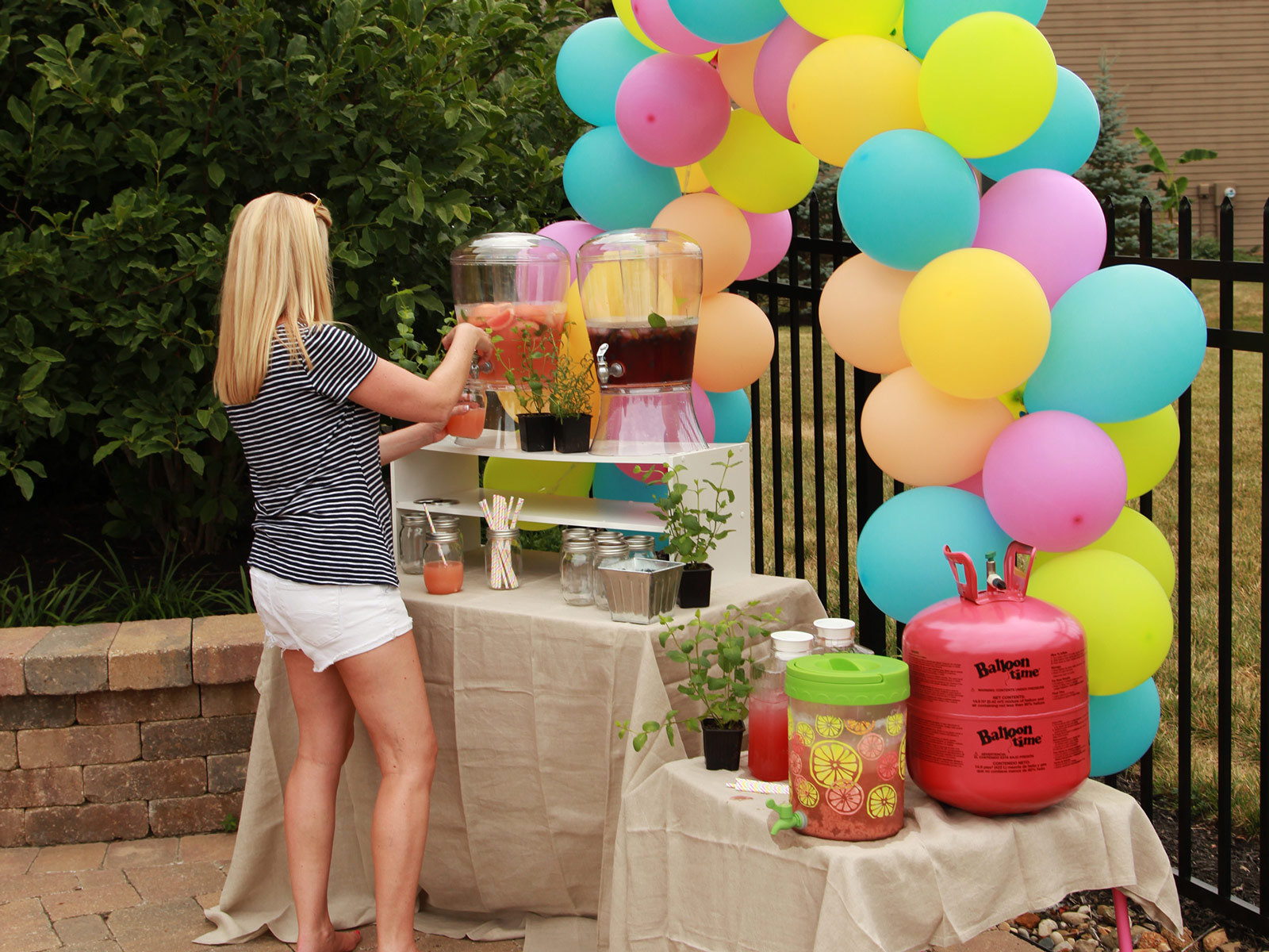 Decorated beverage station at outdoor party