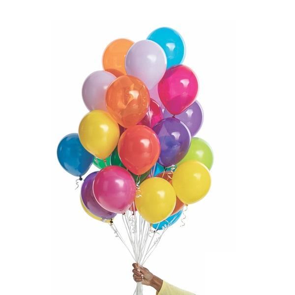 Hand holding 25 latex balloons