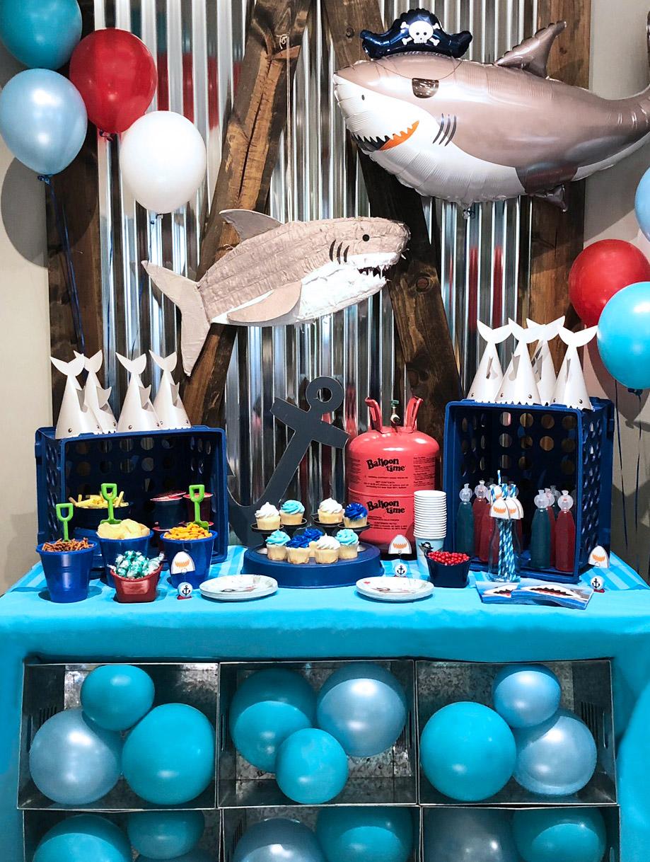 Shark themed birthday party decorations
