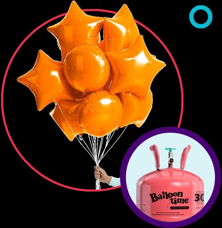 orange foil balloons with helium tank