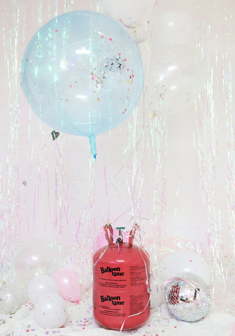 Balloons and helium tank