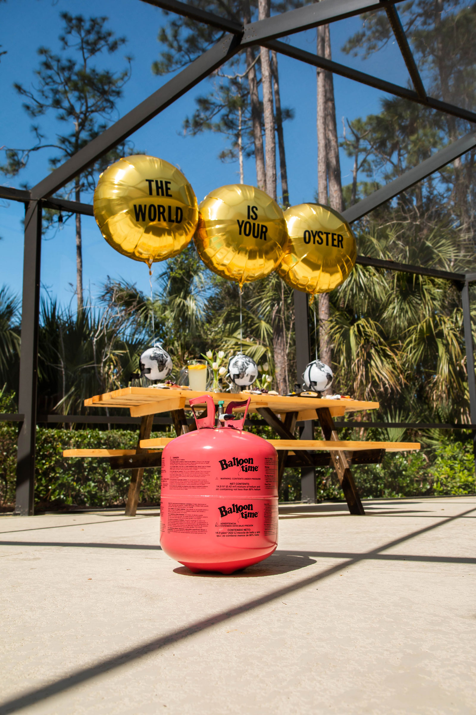 Foil balloons and helium tank