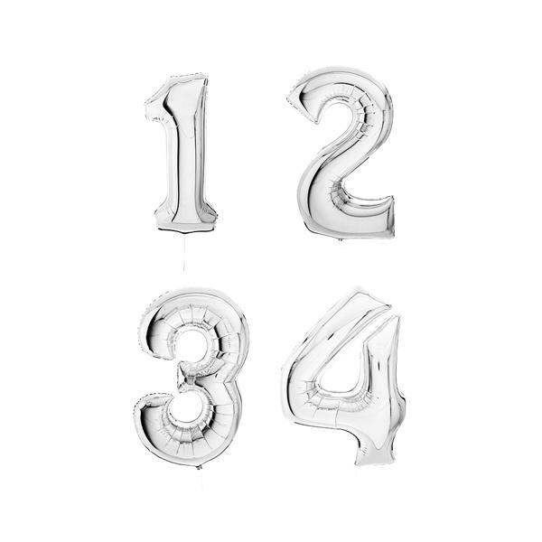 4 jumbo number foil balloons