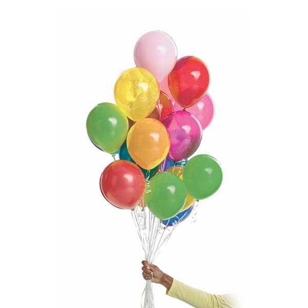 Hand holding 16 latex balloons
