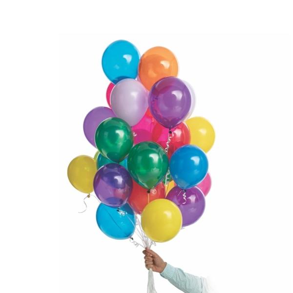 Hand holding 30 latex balloons